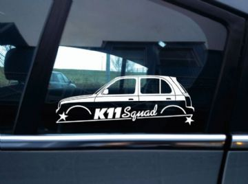 K11 SQUAD car silhouette sticker - for Nissan Micra 5-door  k11 | March